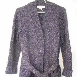 Jones New York Belted Cardigan Sweater Jacket Sz S